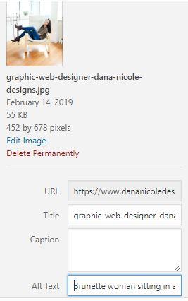 A screenshot of alt text in the wordpress dashboard