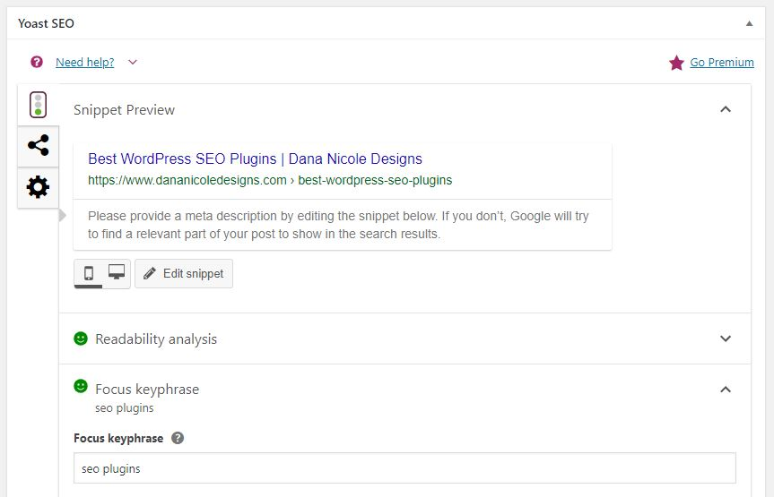 Screenshot of google search result with meta data editor