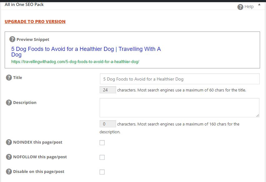 Screenshot of google search snippet with meta data editor