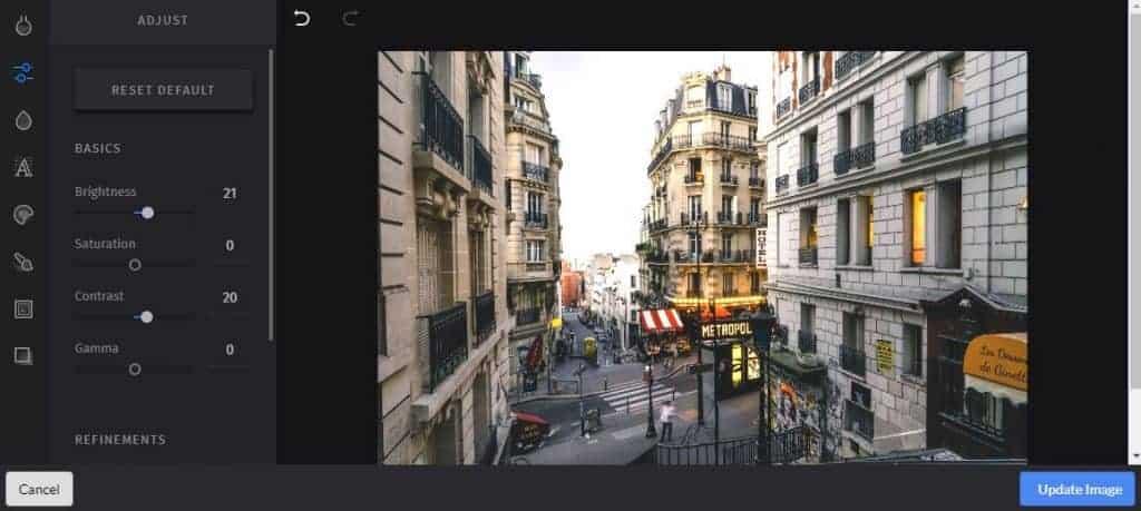 A screenshot of photo editing software