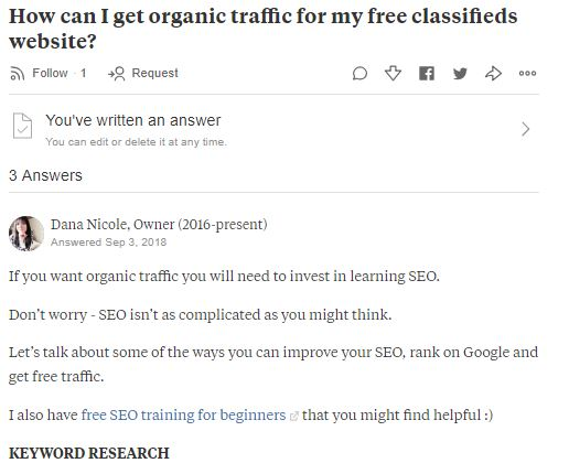 Screenshot of Quora answers
