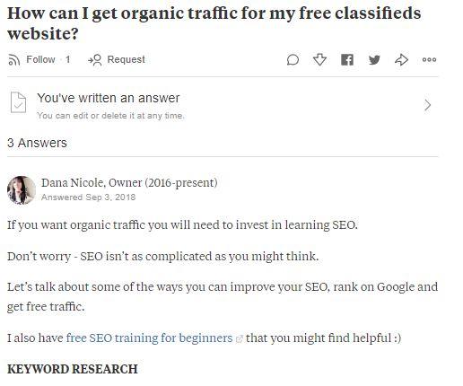 Screenshot of Quora answers