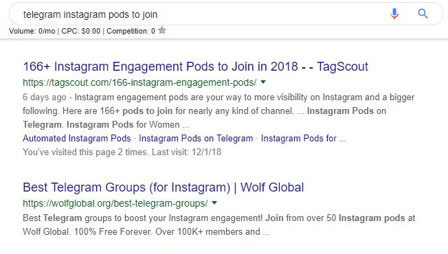 "Screenshot of google search results for the search ""telegram instagram pods to join"""