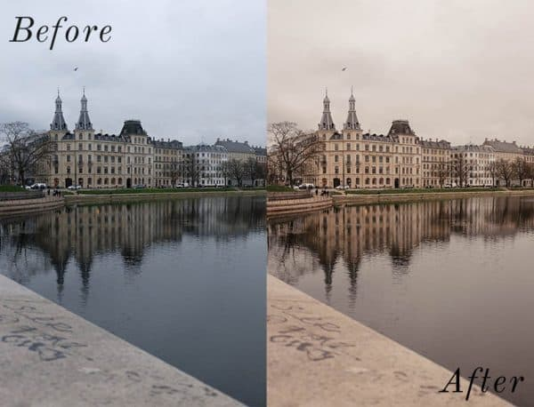 Before and After showing the effect that a preset has on an image. Image is of buildings and a lake