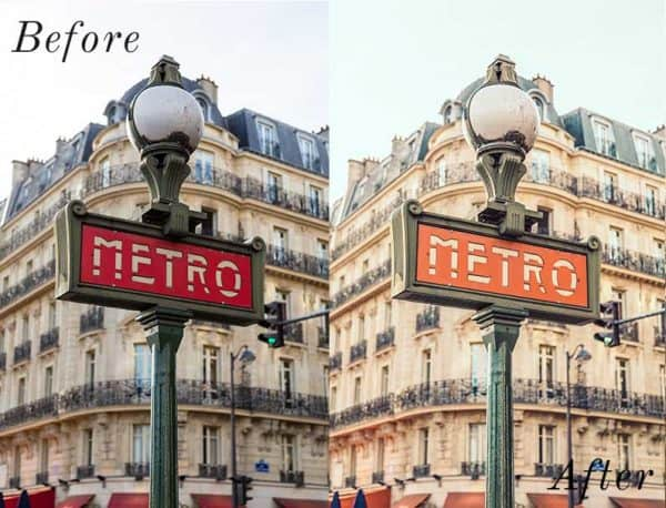 Before and After showing the effect that a preset has on an image. Image is of a metro sign in Europe
