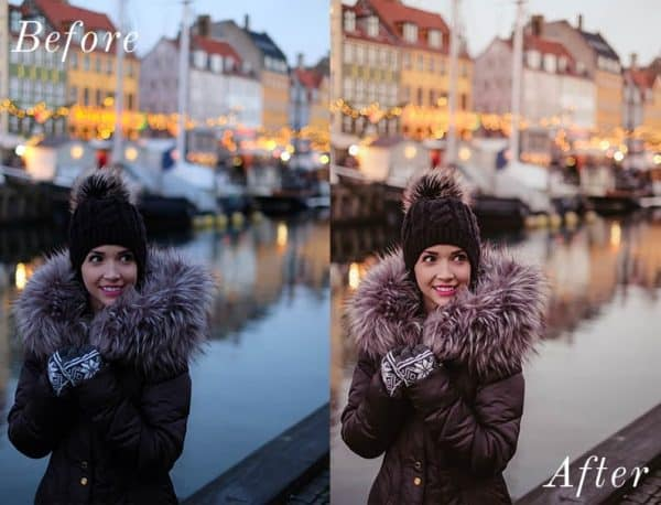 Before and After showing the effect that a preset has on an image. Image is of girl smiling while wearing winter jacket