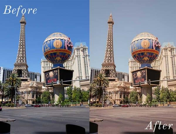 Before and After showing the effect that a preset has on an image. Image is of eiffel tower in las vegas