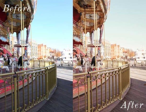 Before and After showing the effect that a preset has on an image. Image is of carousel