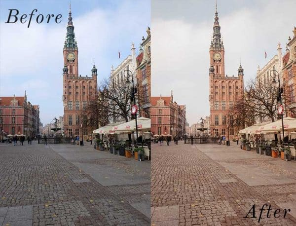 Before and After showing the effect that a preset has on an image. Image is of European church