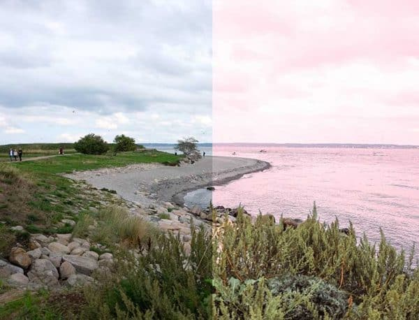 Before and After showing the effect that a preset has on an image. Image is of beach and sea