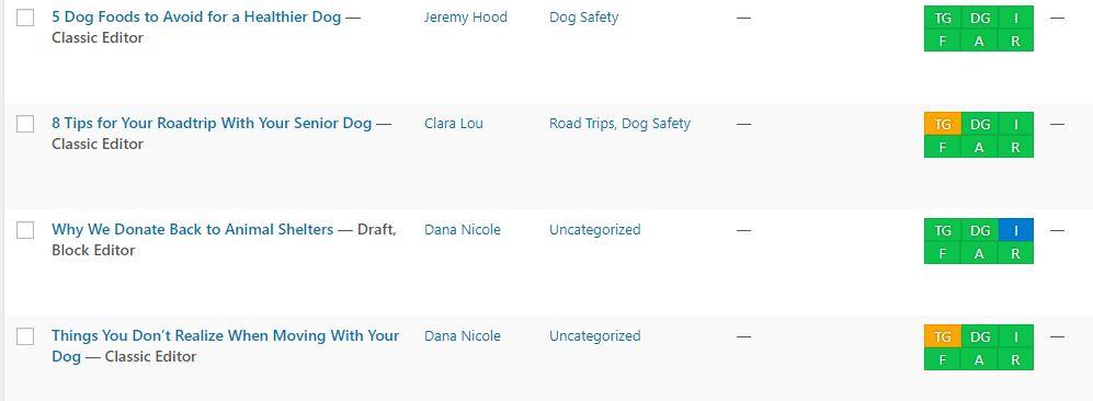 screenshot of blog posts