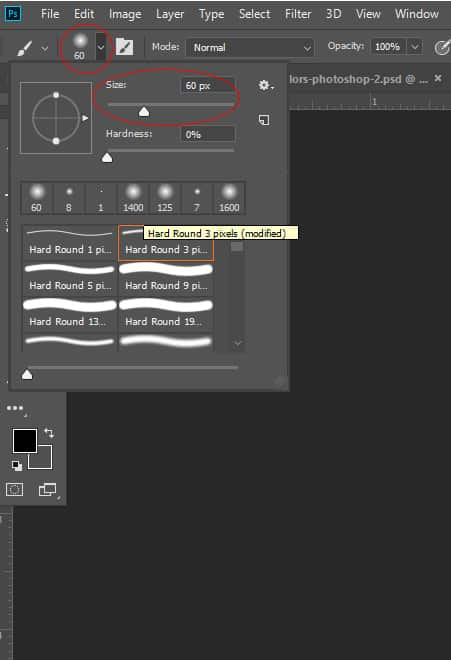 Photoshop software interface