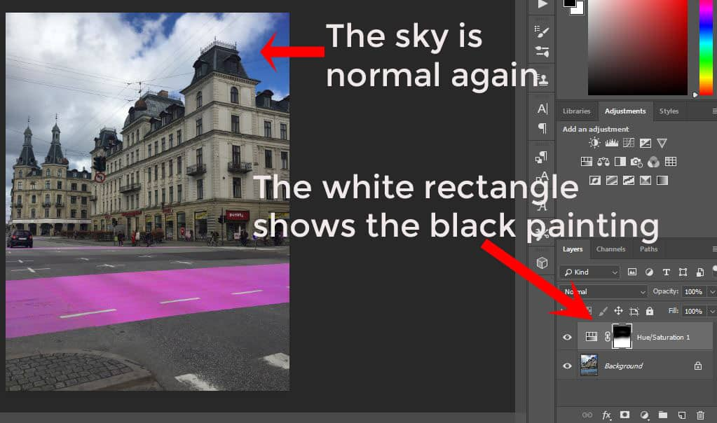 Photoshop editing interface. Tools on the right, photo on the left