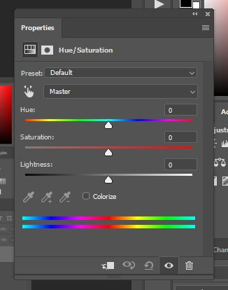 Phothoshop hue/saturation color editor