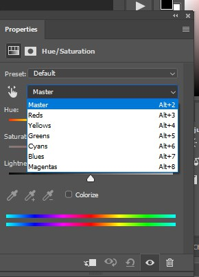 Photoshop color editing interface