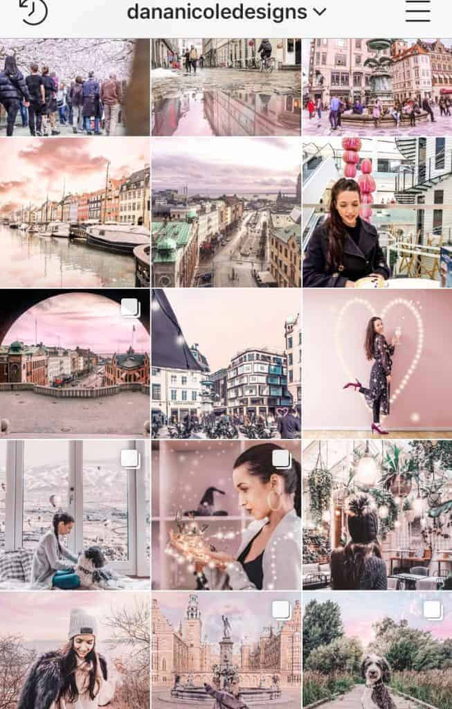 a screenshot of an instagram feed theme that is mainly pink