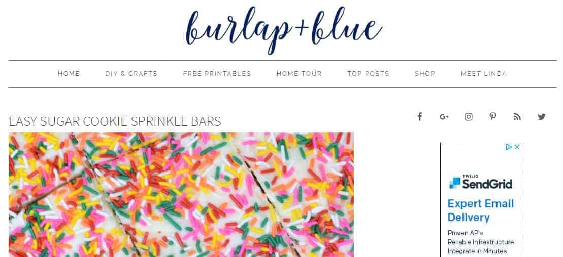 Screenshot of a website with a logo, navbar and blog posts