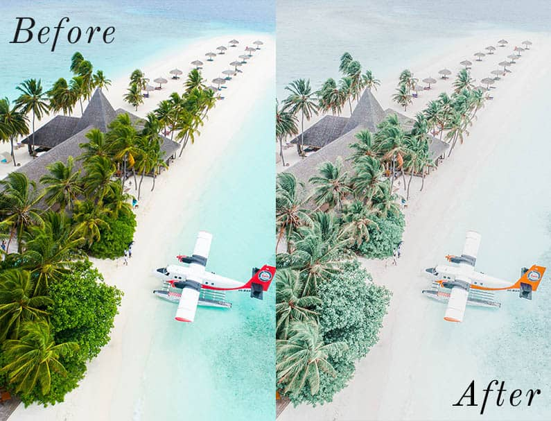 Before and After showing the effect that a preset has on an image. Image is of airplane on a beach