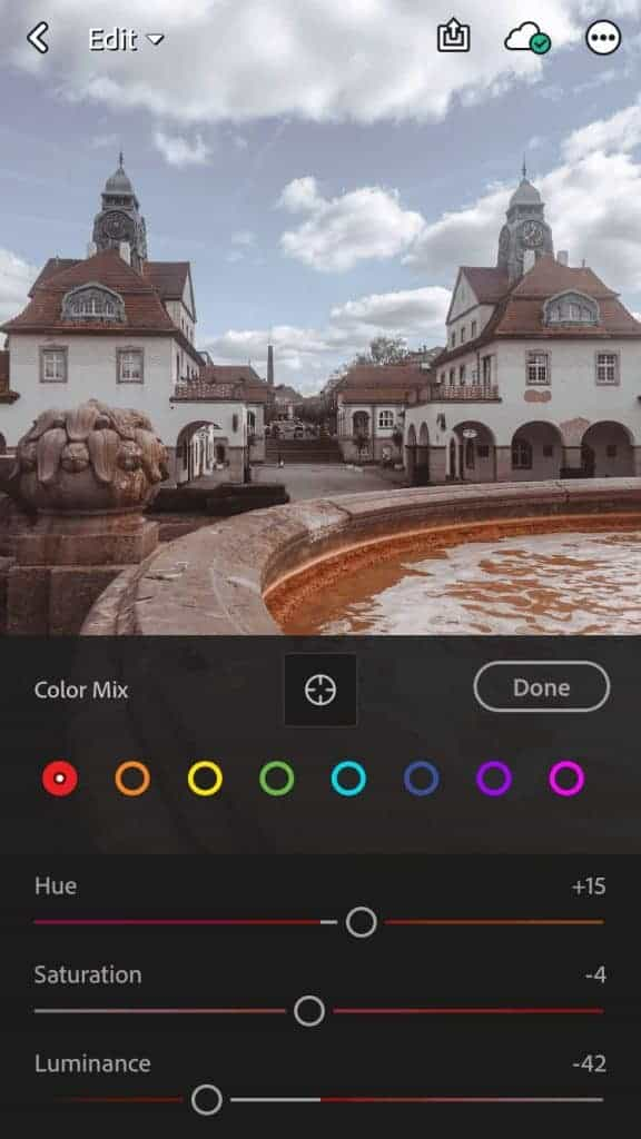 editing the colors of a photo in the lightroom app