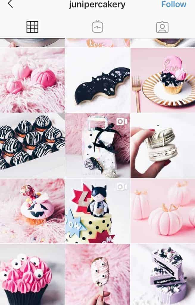 A screenshot of an Instagram feed with pretty desserts. The photos are mainly pink, purple black and white