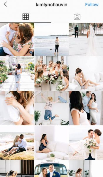 A screenshot of an Instagram feed from a wedding photographer that features white and bright photos