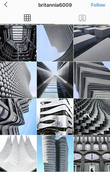 A screenshot of an Instagram feed with abstract photo