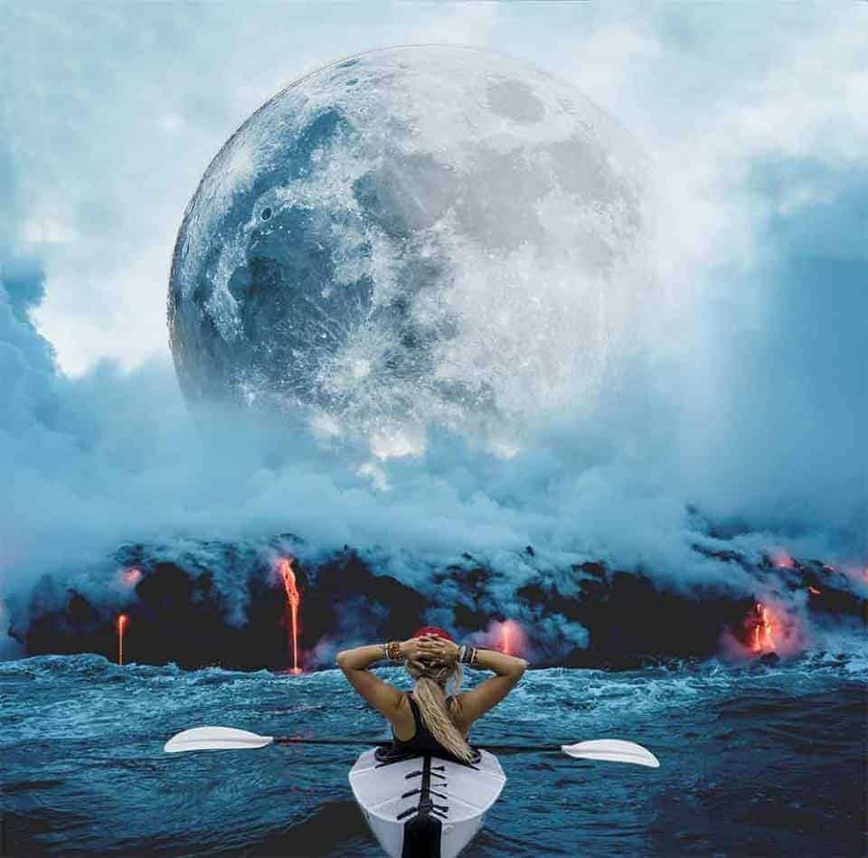 A composite edited photo with a girl in a canoe, heading into a lava volcano with a big moon.