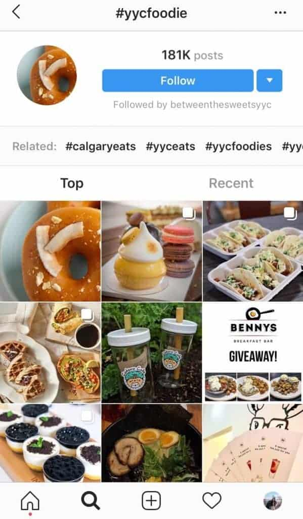 The hashtags search page on Instagram for #yycfoodie