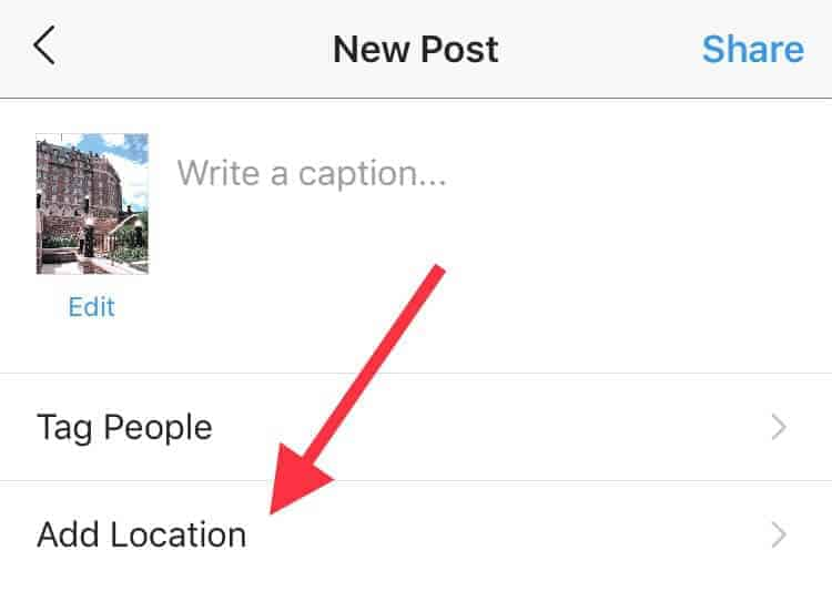 Where to add location to your Instagram posts