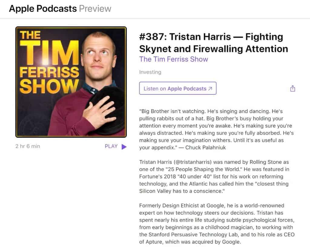 Screenshot of THe Tim Ferris Show podcast