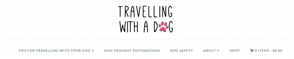 """Travelling with a dog"" logo with a paw print"
