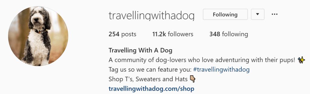 Screenshot of an instagram account bio