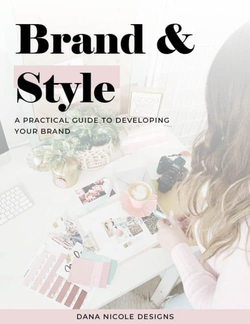"Ebook cover that says ""Brand and Style, a practice guide to developing your brand"""