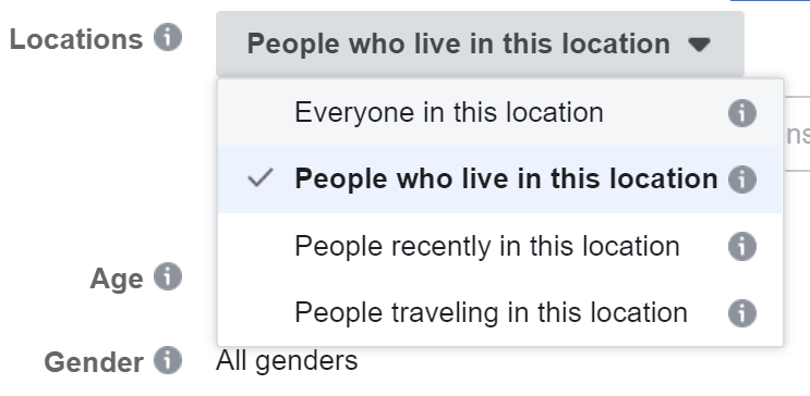 Screenshot of Facebook ad targeting the location
