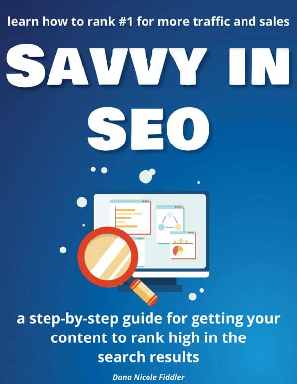 """ebook cover that says """"Savvy in SEO"""""""