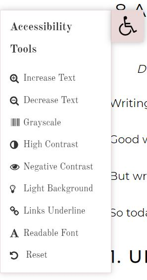 A screenshot of the menu options for the accessibility plugin