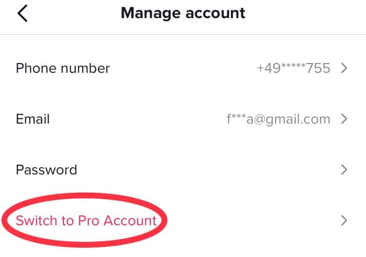 "A screenshot of TikTok with ""switch to pro account"" circled"