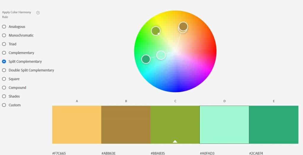 A color wheel with 5 colors below it