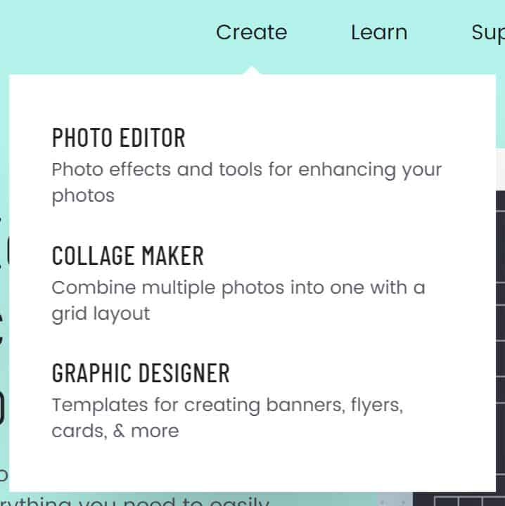 Screenshot of dropdown menu for BeFunky: Photo editor, collage maker and Graphic designer