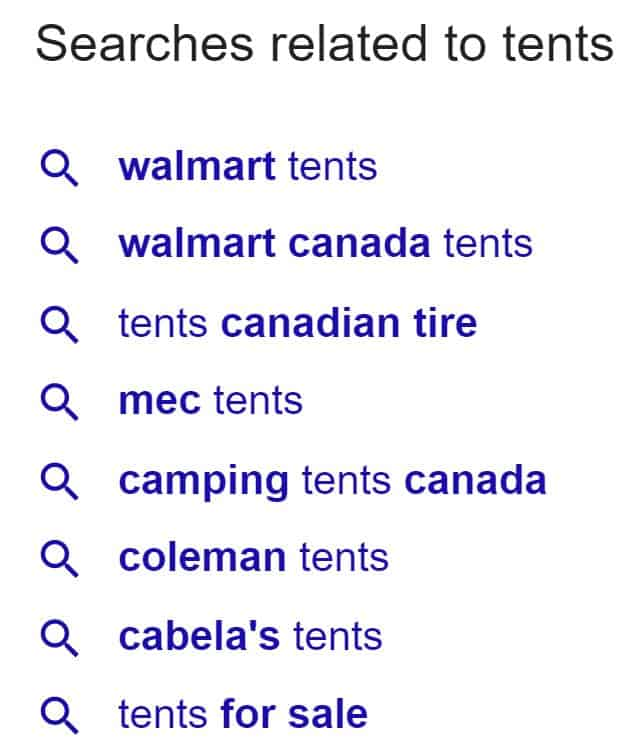 "Screenshot of related searches for the query ""tents"" in Google"