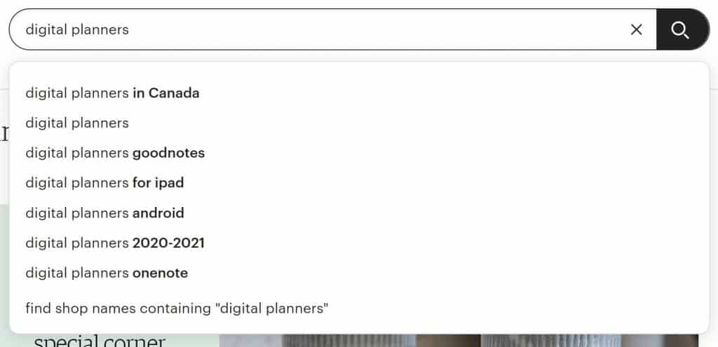 """Screenshot of search in Etsy for """"digital planners"""""""