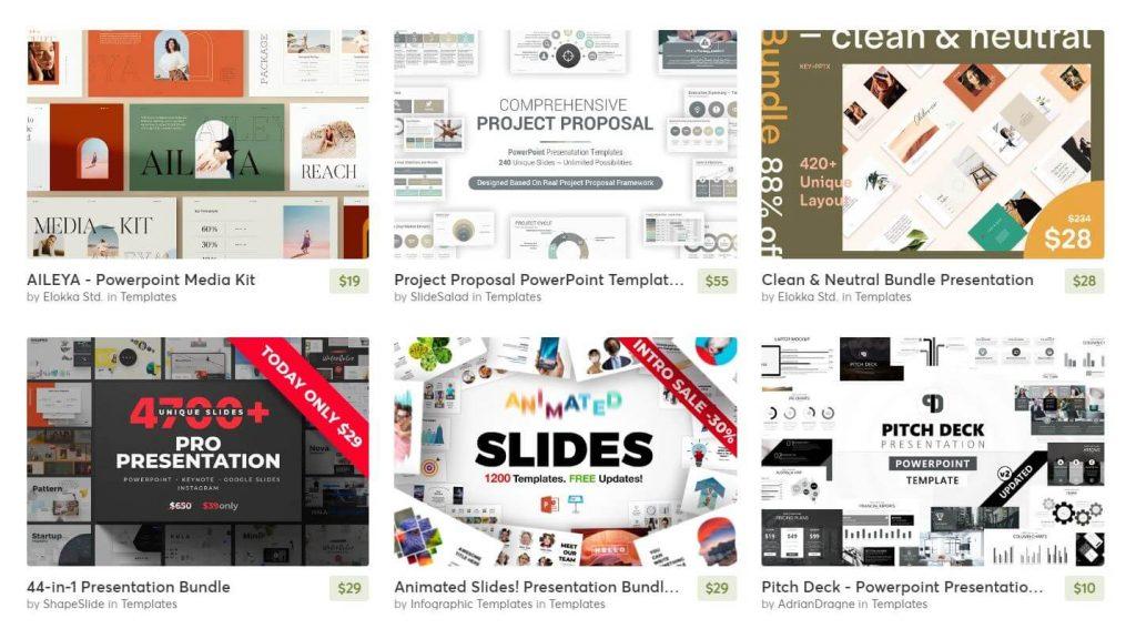 A screenshot of powerpoint templates on creative market