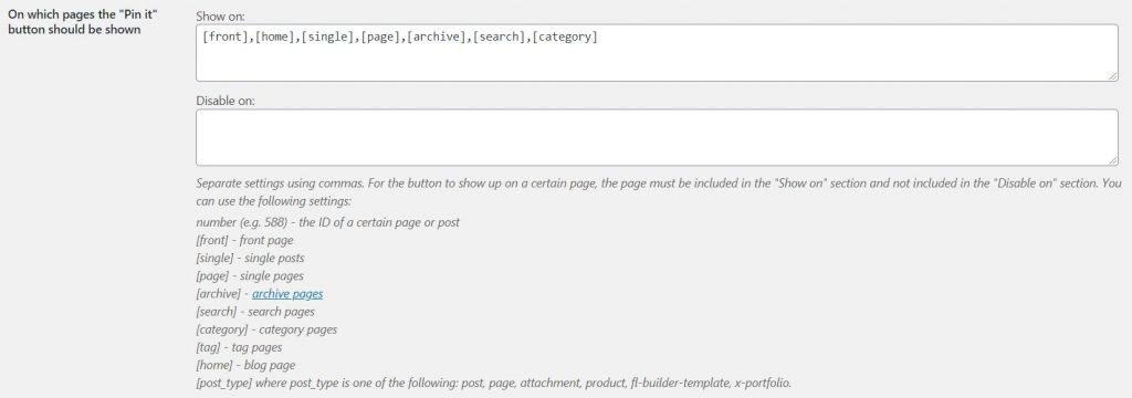 Screenshot of jQuery Pin It button plugin interface