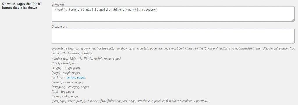 Screenshot of jQuery Pin It button plugin interface