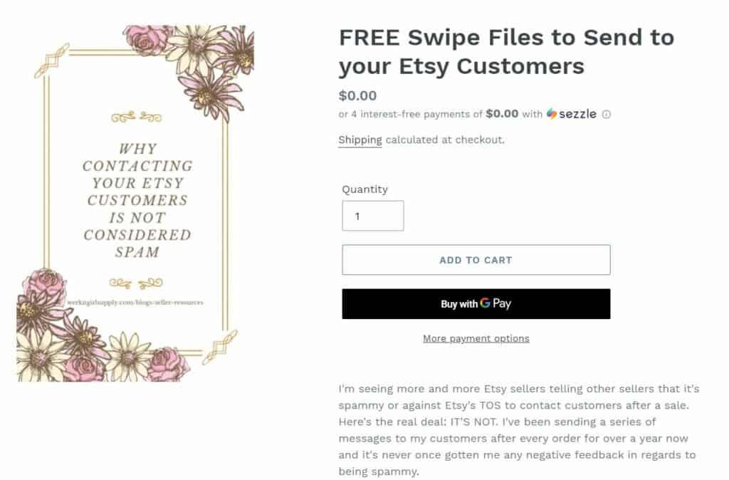 Screenshot of a free swipe file.