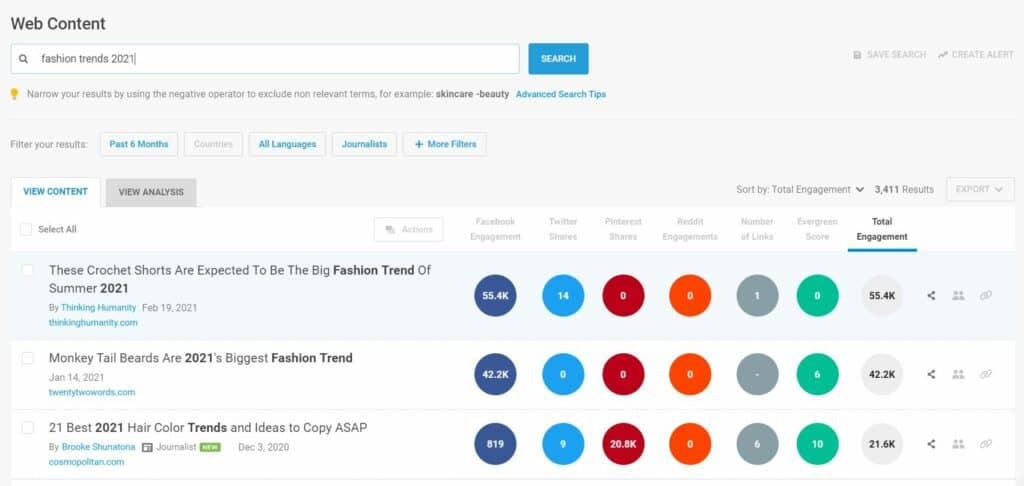Screenshot of the most popular content for fashion trends in 2021 via BuzzSumo.