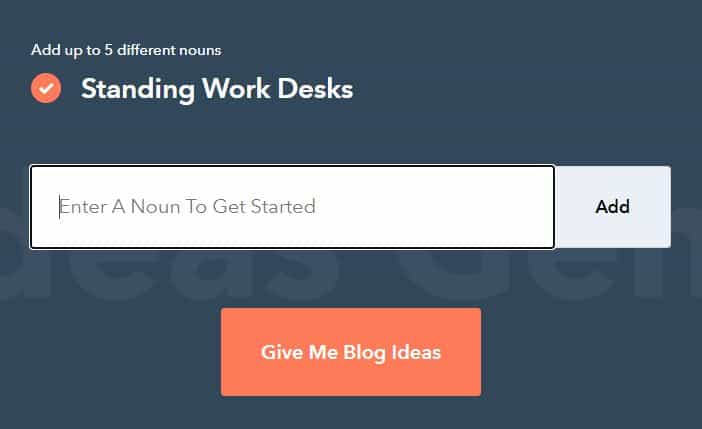 Screenshot of HubSpot's Blog Idea Generator.