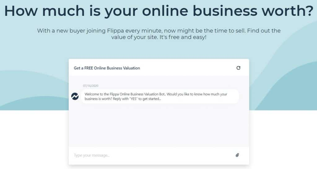 """Screenshot of a chat bot with text above that reads: """"How much is your online business worth?"""""""