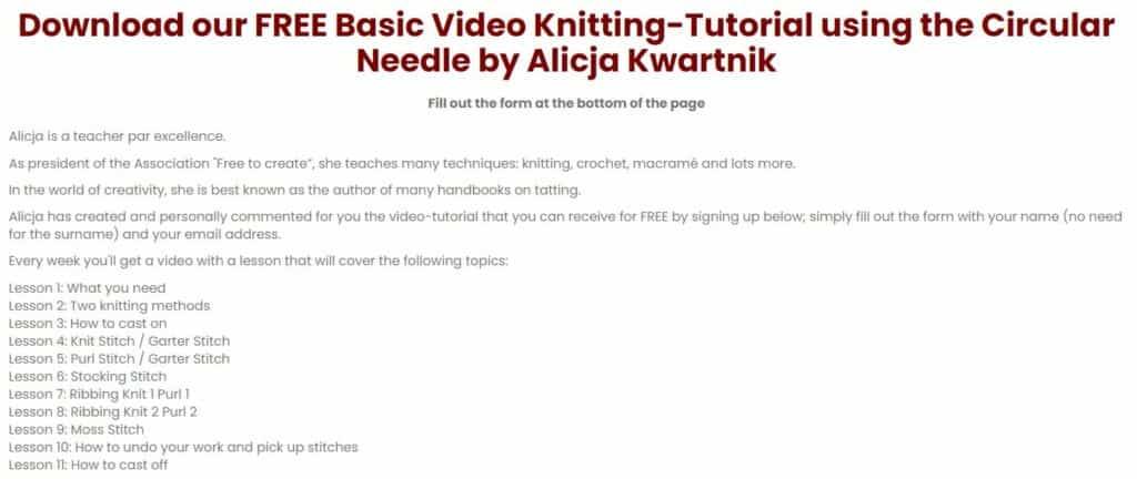 Screenshot of text for a knitting course.