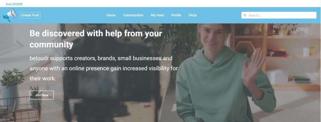 Screenshot of beloudr's website